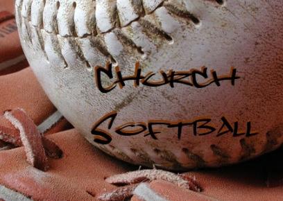 "Softball with the words ""Church Softball"""