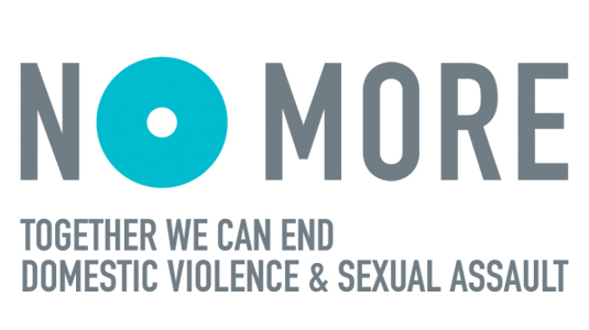 NO MORE (logo): Together we can end domestic violence & sexual assault
