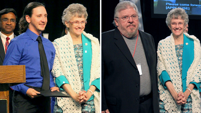 The Congregational Development Team presented Denman Evangelism Awards to The Rev. Maxime Jaouen of Lansdale First UMC (right photo) and John Schadler of Fairless Hills First UMC (left photo). Both recipients were congratulated by the Bishop. (Rev. James Mundell photos)