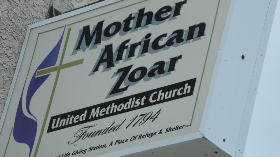 Sign outside of Mother African Zoar UMC. Founded 1794. Spiritual Life Giving Station, A Place of Reguge & Shelther
