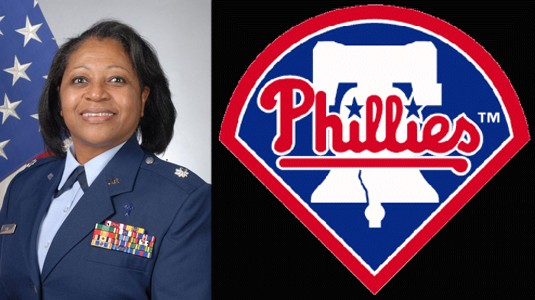 Photo of Lt. Colonel Sherrol James combined with Phillies Logo image
