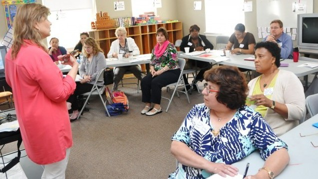 FaithTrust Executive Director Jane Fredricksen teaches a group at the Safe and Healthy Churches training event in June how to develop protocols to protect and assist victims of domestic violence.