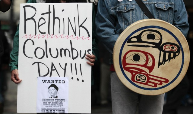 Native American protesters have been demonstrating against Columbus Day in Seattle for several years. Protest organizers say that Columbus should not be credited with discovering the western hemisphere at a time when it was already inhabited.