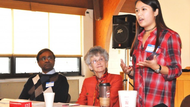 Mei-Ling Blackstone, 16, leads devotions at the Connectional Table (CT) meeting, Oct. 17