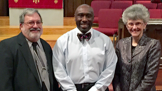 Participating in First UMC Germantown's Martin Luther King Jr. commemorative worship celebration, Jan. 17, were (from left) the Rev. Robert Coombe, pastor, the Rev. F. Willis Johnson, guest preacher, and Bishop Peggy Johnson.