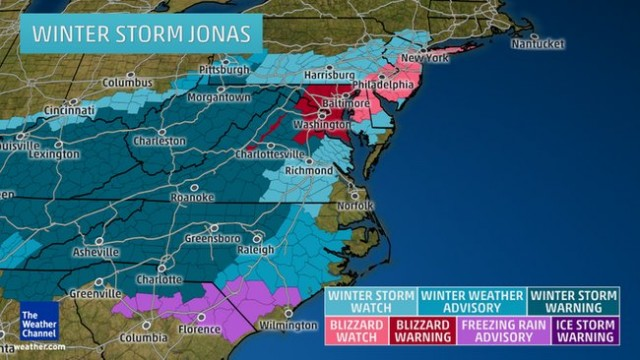 Weather Channel forecast map for Winter Storm Jonas