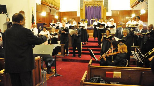 Philadelphia United Methodist Mass Choir, comprising singers from several local, predominantly black UM churches.