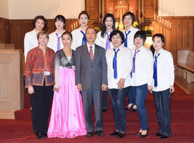 Korean women's choir blesses tri-lingual worship service