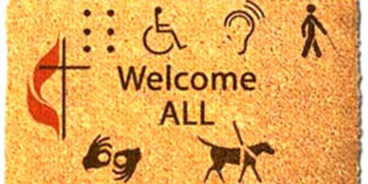 """Welcome All"" Disability sign"
