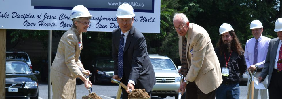 Bishop Peggy Johnson, Rev. Bumkoo Chung DS, and Rev. David Myers former DS at Faith UMC groundbreaking ceremony.