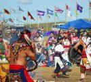 Aztec dancers at Oceti: Aztec dancers at Oceti Sakowin Camp, near Cannon Ball, ND.