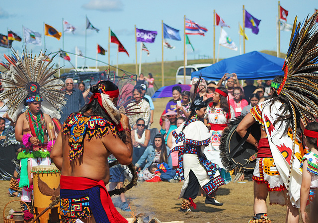 Aztec dancers at Oceti: Aztec dancers at Oceti Sakowin Camp, near Cannon Ball, ND.